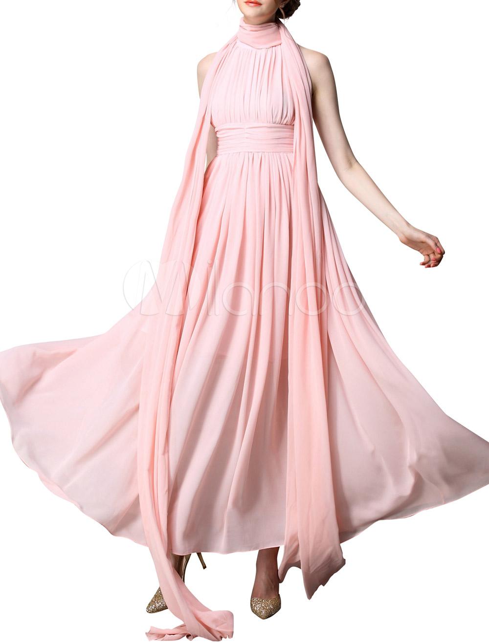 Vestido largo de chifón rosa con escote alto y pliegues - Milanoo.com