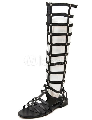 Femme Plates Tige Populaires De En Gladiateur Noires Sandales Pu m8wynOvN0P