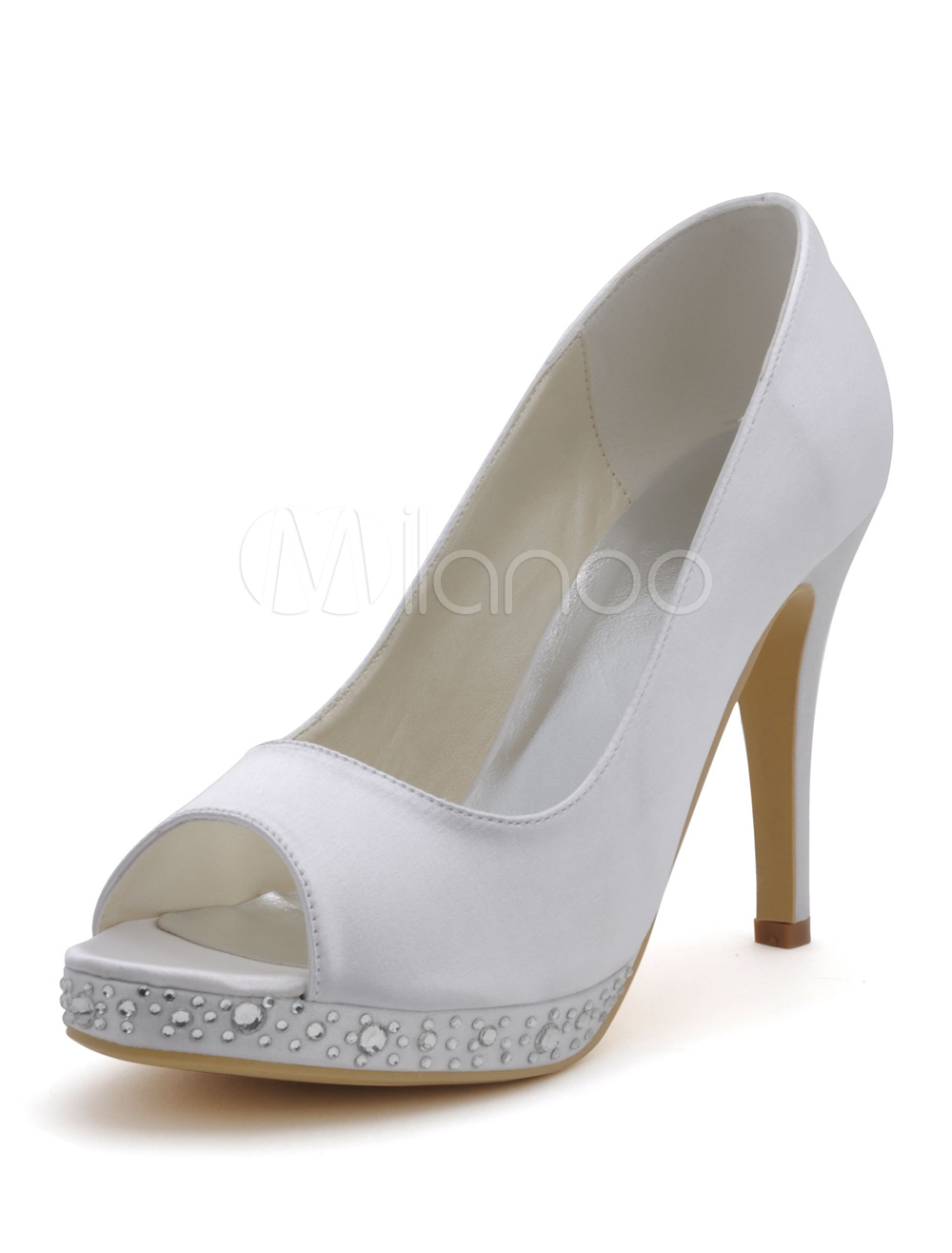 Buy Sparkling Rhinestone Peep Toe Silk And Satin Pumps For Bride for $66.49 in Milanoo store