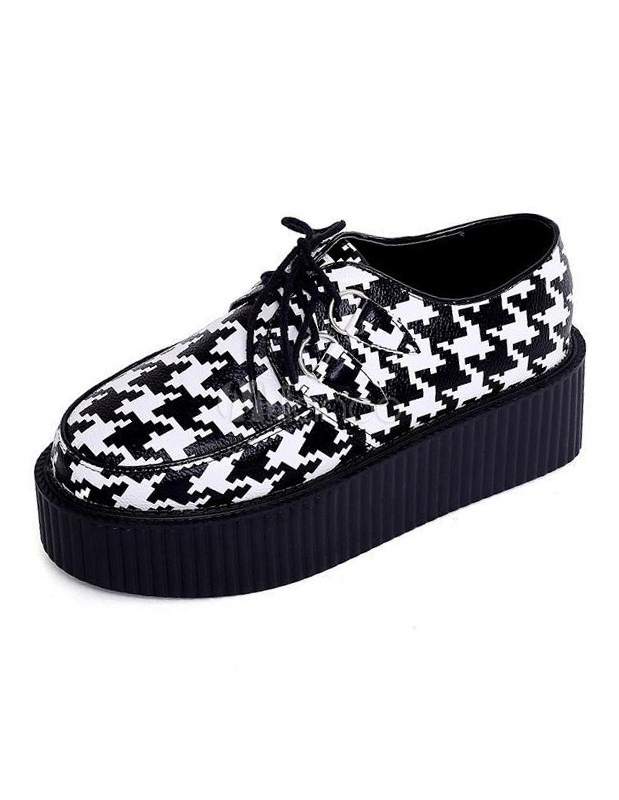 Stylish Round Toe Two-Tone Houndstooth Print Woman's Platform Shoes