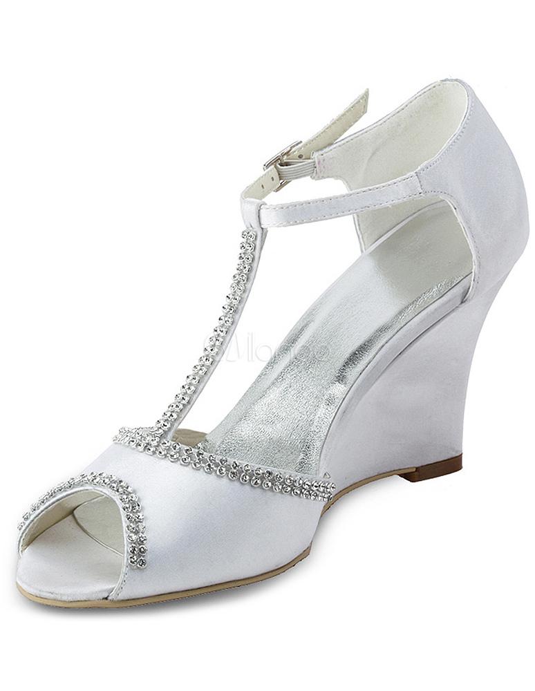 Chaussure de mariage à talon compensé en satin blanc avec strass à peep-toe-  ...