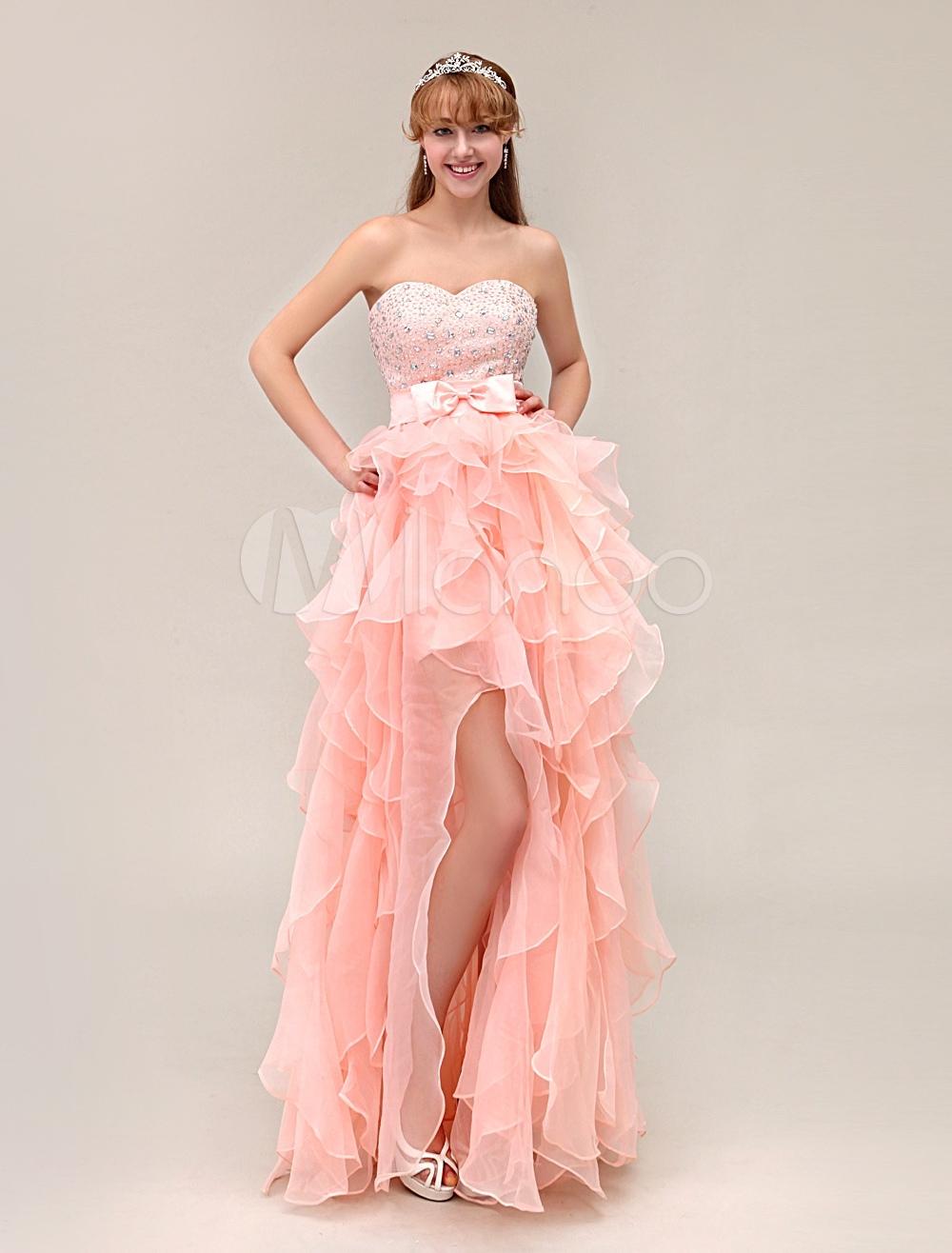 A-line Sweetheart Neck Beading Organza Floor-Length Ruffles Split Prom Dress