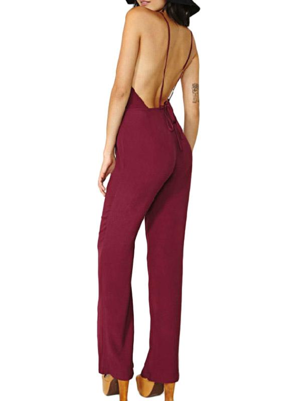 1d3337d148 Fashion mahogany neck backless chiffon womens jumpsuit jpg 600x800 Wine  chiffon jumpsuits