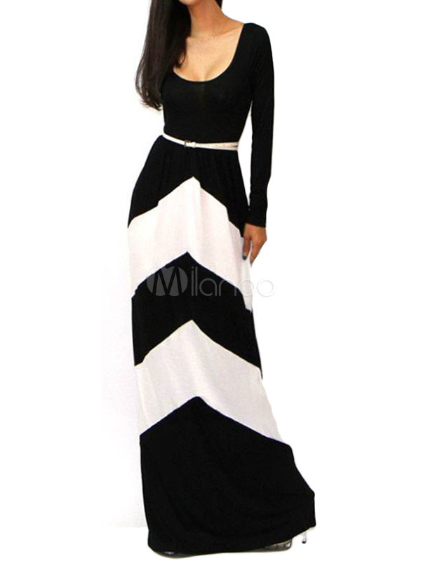 Buy Women's Striped Dress Long Sleeve High Waisted Maxi Dress for $17.99 in Milanoo store