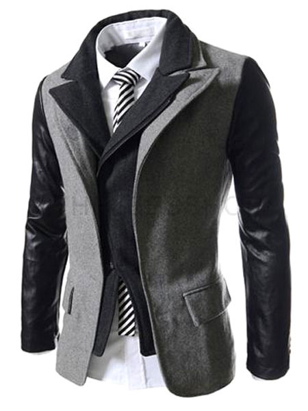Business Casual Synthetic Two-Tone Slim Fit Casual Jacket For Men