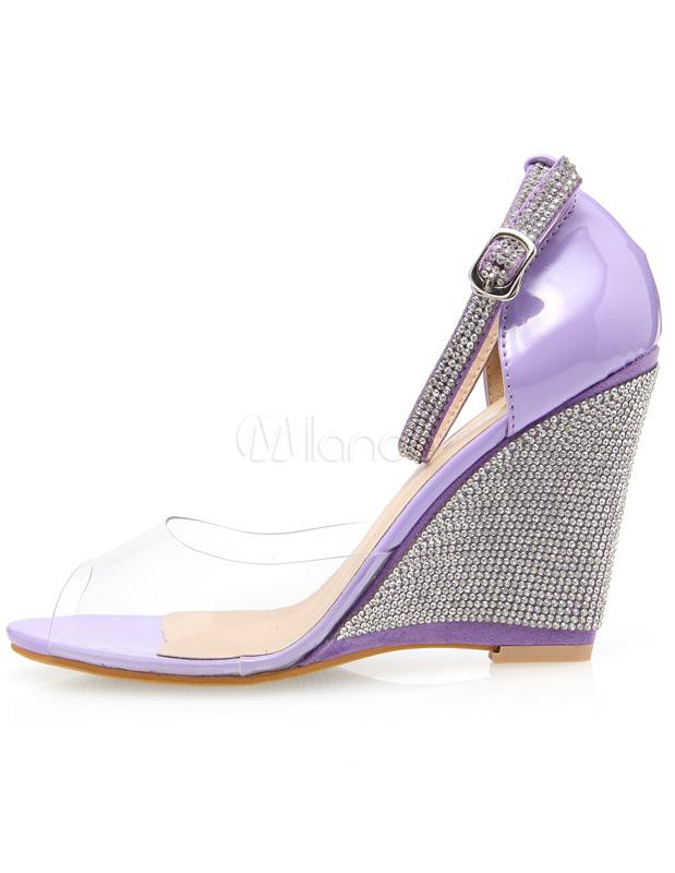 Compensées Avec Belles Sandales En Femme Violettes Résine Strass trCBxhdsoQ