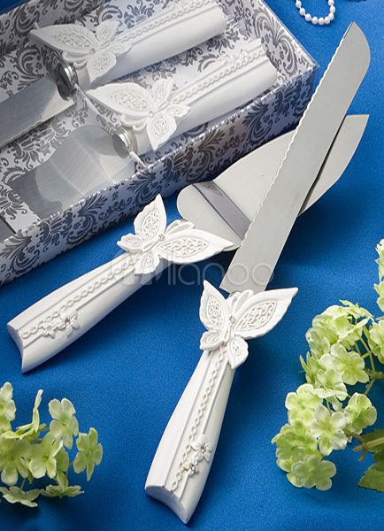 Butterfly Decor Cake Knife & Server Set With Silver Box