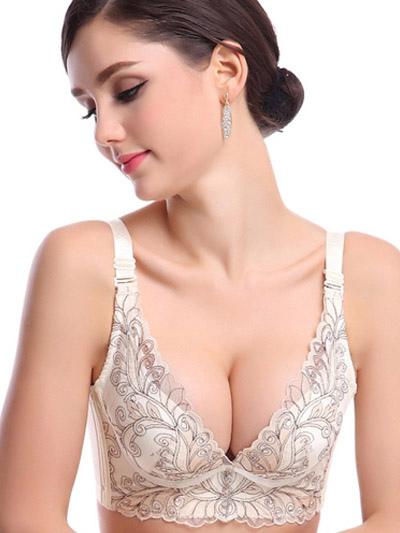 Push Up Bra Lace Cotton Rhinestone Shaping Woman's Demi Cup Bra