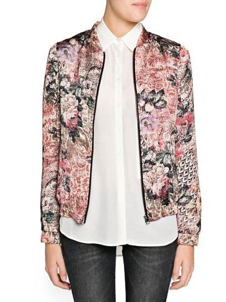 Populaire Veste femme multicolore en polyester imprimé fleuri avec zip col  NT52
