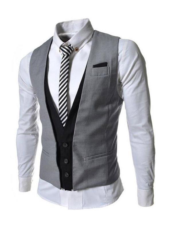 Men Suit Vest 2018 Fake 2 Piece Button Two Tone Slim Fit