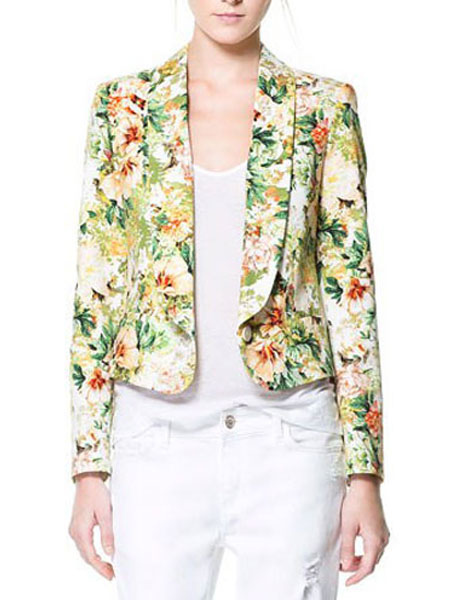 6606d31e14 Entalhe elegante gola estampa Floral modelagem de Blazer feminino-No.1 ...