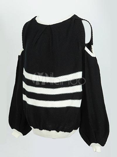 pull f minin noir bicolore avec rayure d 39 paule ouverte de col bateau. Black Bedroom Furniture Sets. Home Design Ideas