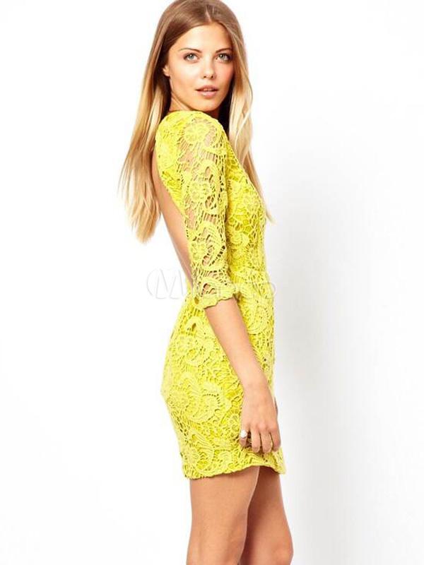 Vestidos cortos amarillos