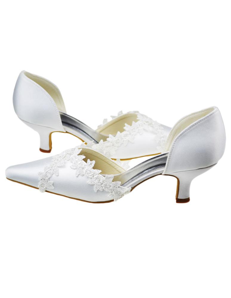 ... Chaussure de mariée blanche à talon petit et bout pointu avec dentelle  -No.3 ...