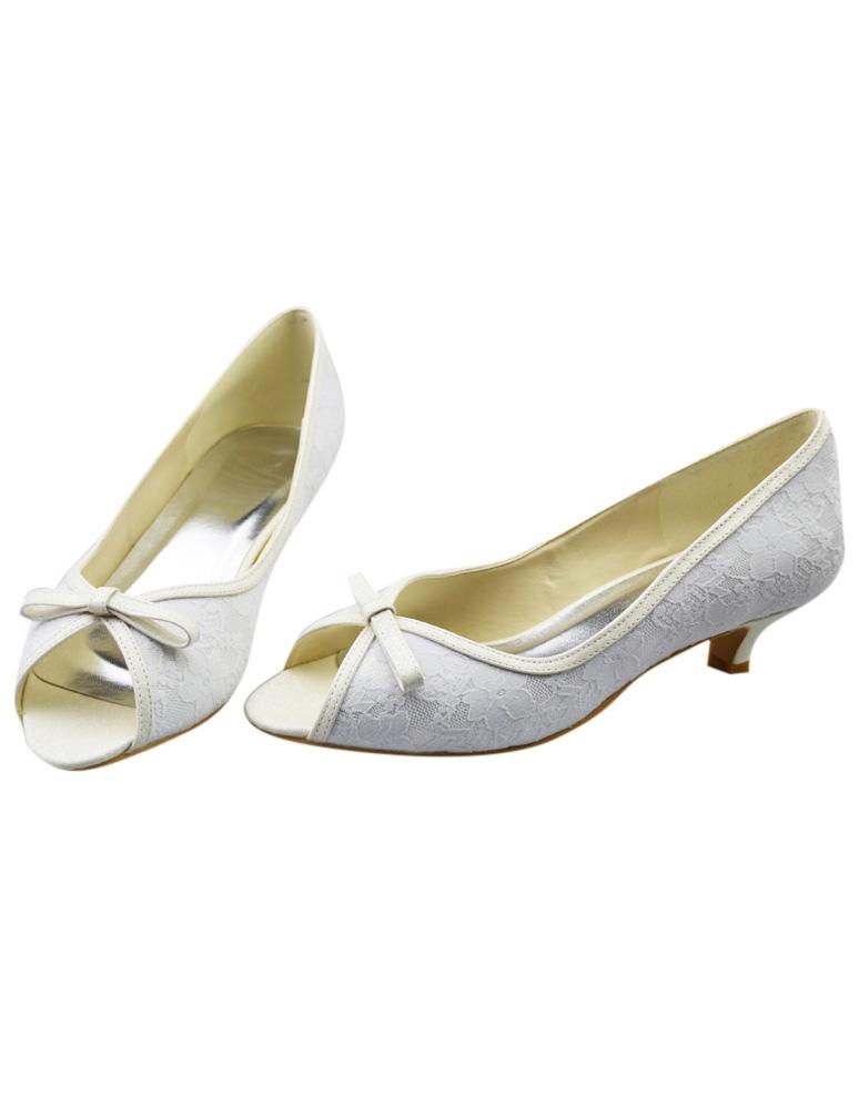 Chaussure de mariée en dentelle blanche à petit talon avec noeud ,No.1