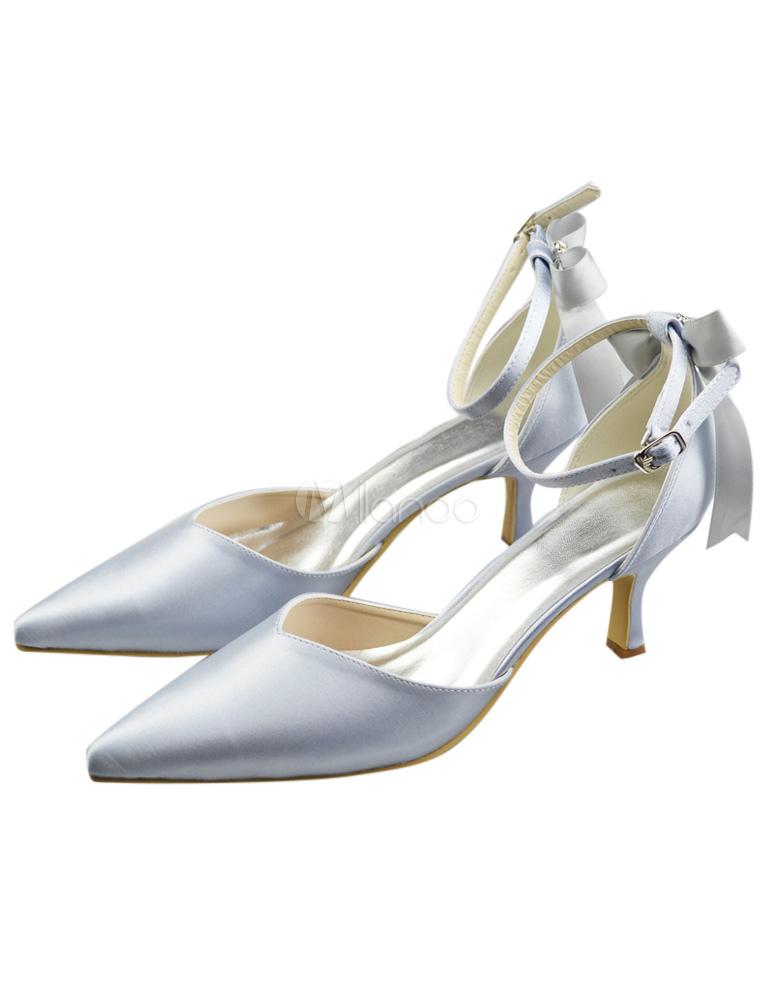 Chaussure de mariée à bout pointu en satin argent à petit talon avec nœud  -No ... d1bb81662e4e