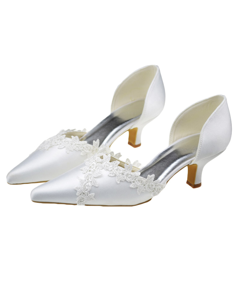 Pretty White Pointed Toe Chunky Heel Satin Wedding Shoes