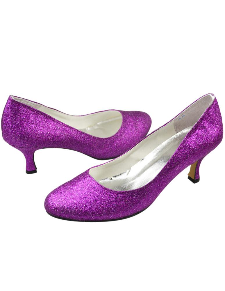 ... Chaussure de mariée en tissu de paillette violet foncée à petit talon  bout rond -No ...