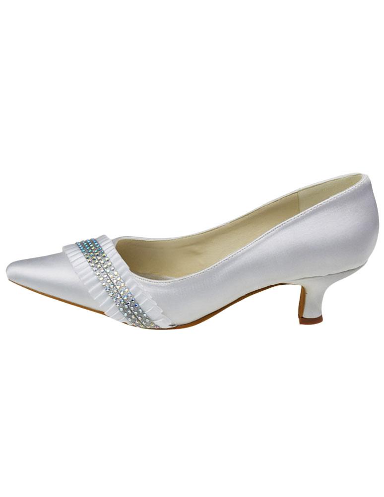 ... Chaussure de mariée à bout pointu en satin blanc à talon petit avec  strass -No ...