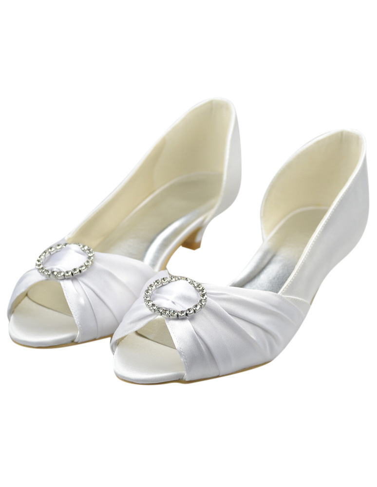 White Rhinestone Kitten Heel Peep Toe Wedding Shoes