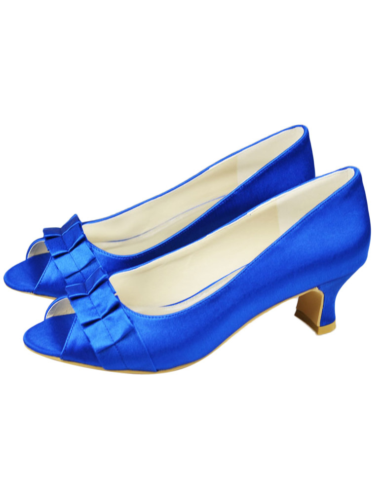 Blue Chunky Heel Peep Toe Wedding Shoes For Bride