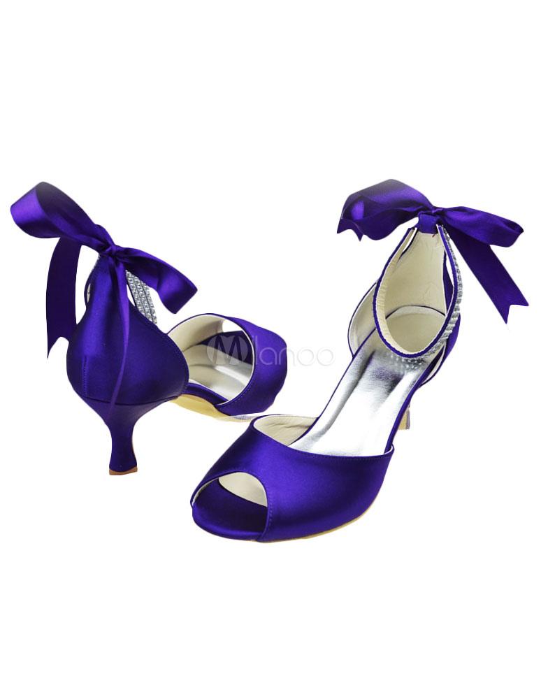 Purple Kitten Heel P Toe Evening Party Shoes For Bride No 3
