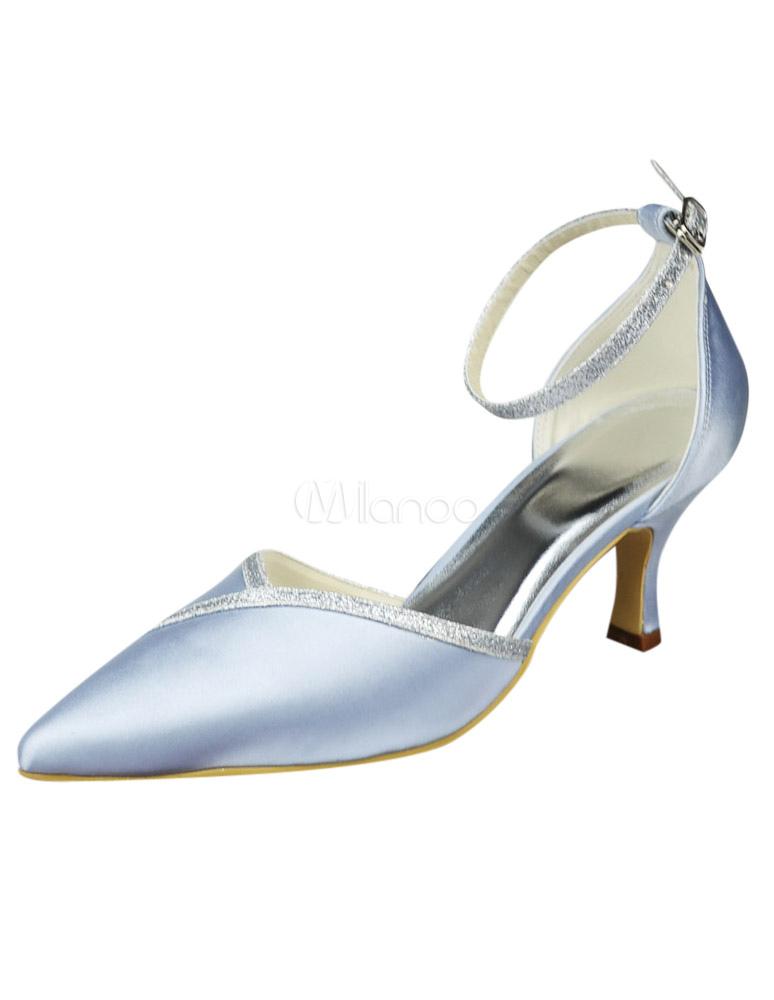 en pointu satin talon de avec à paillette bout mariée Chaussure argent petit L3Rq54AjSc
