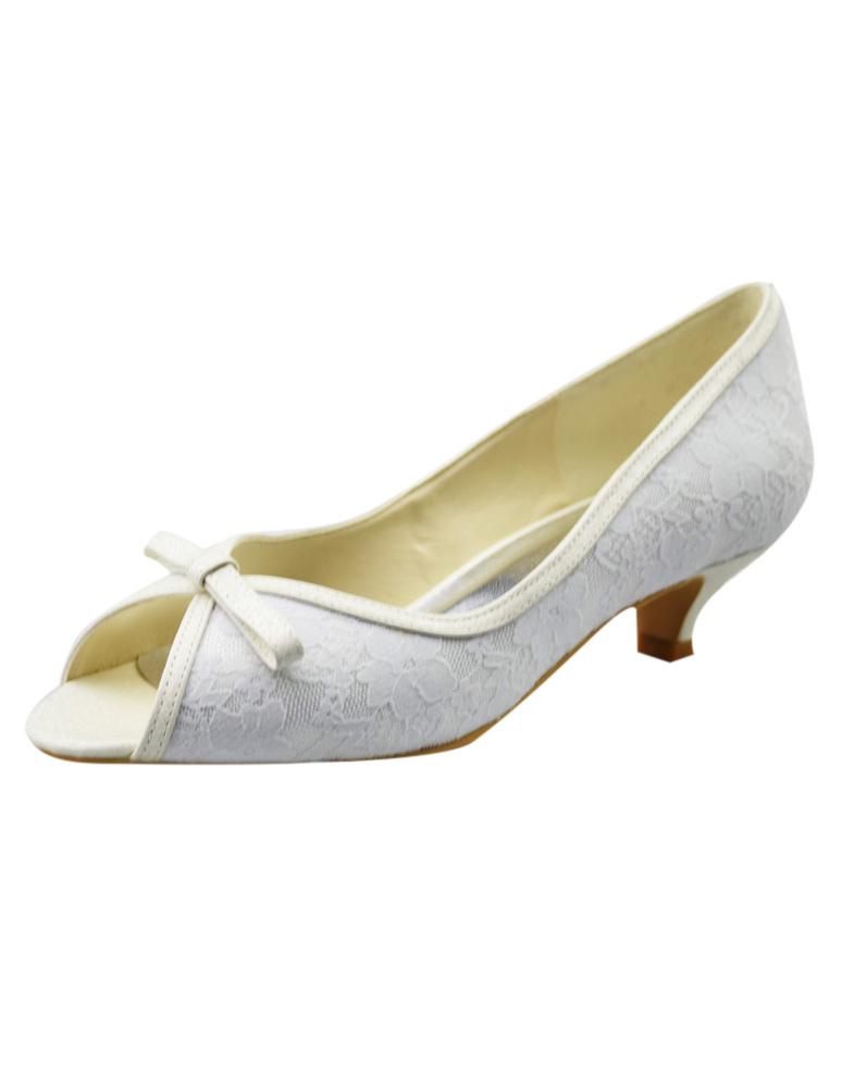 ... Chaussure de mariée en dentelle blanche à petit talon avec noeud -No.3  ...