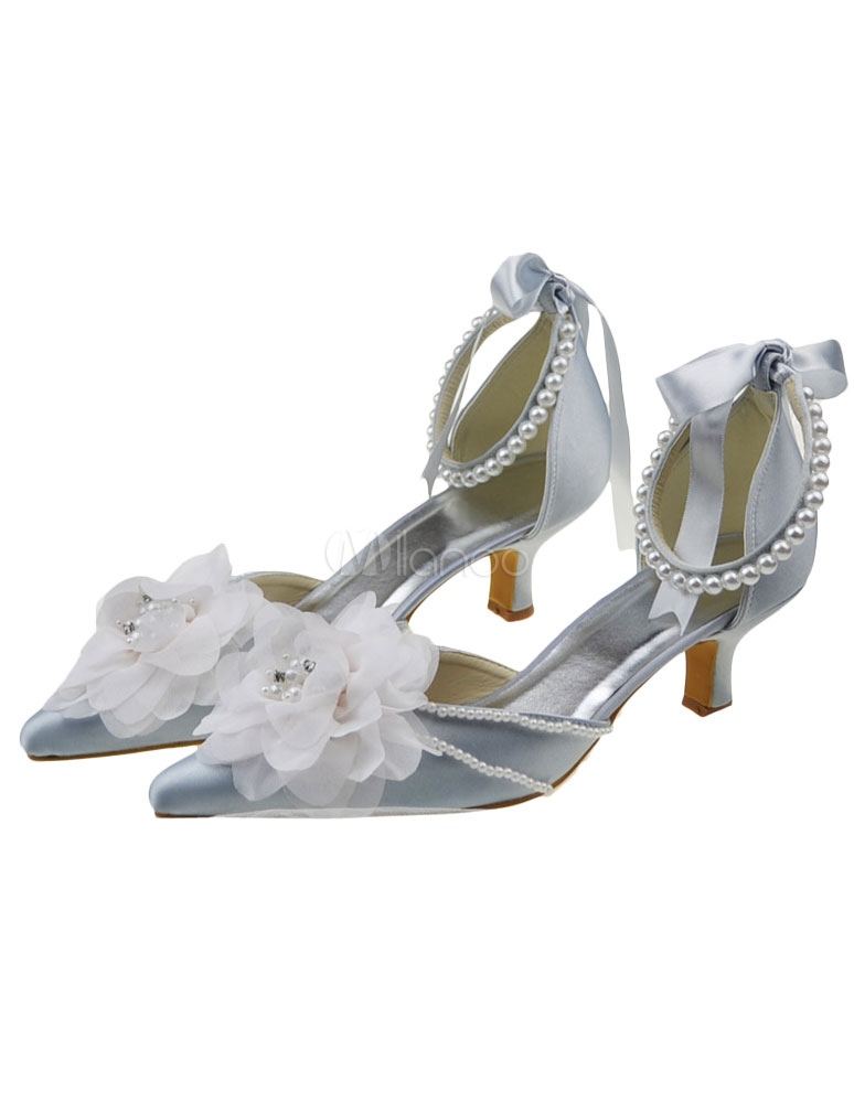 Silver Flower Decor Pointed Toe Chunky Heel Satin Bridal Shoes