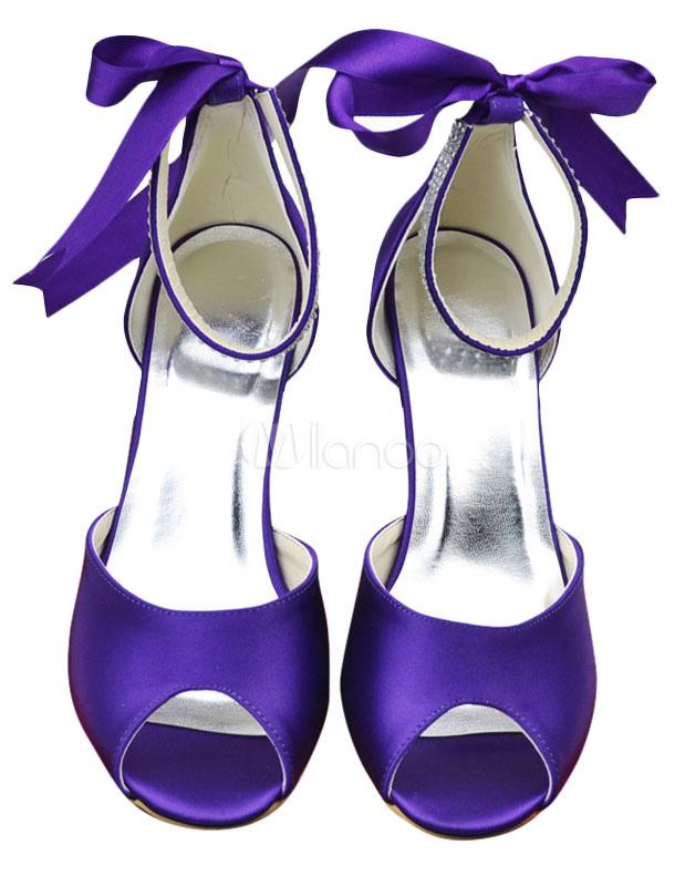 Purple Kitten Heel Peep Toe Evening Party Shoes For Bride