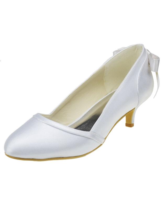 Fabulous White Round Toe Kitten Heel Satin Wedding Shoes