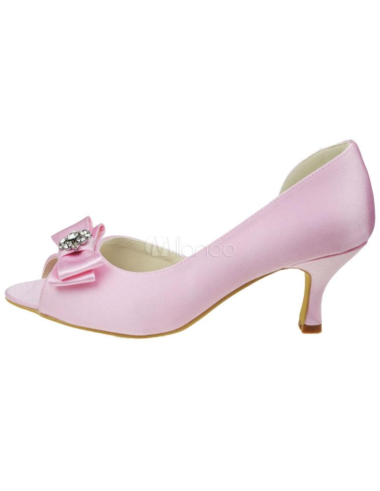 Zapatos Peep Toe de satén rosa con pedrería S7PZ1ewC