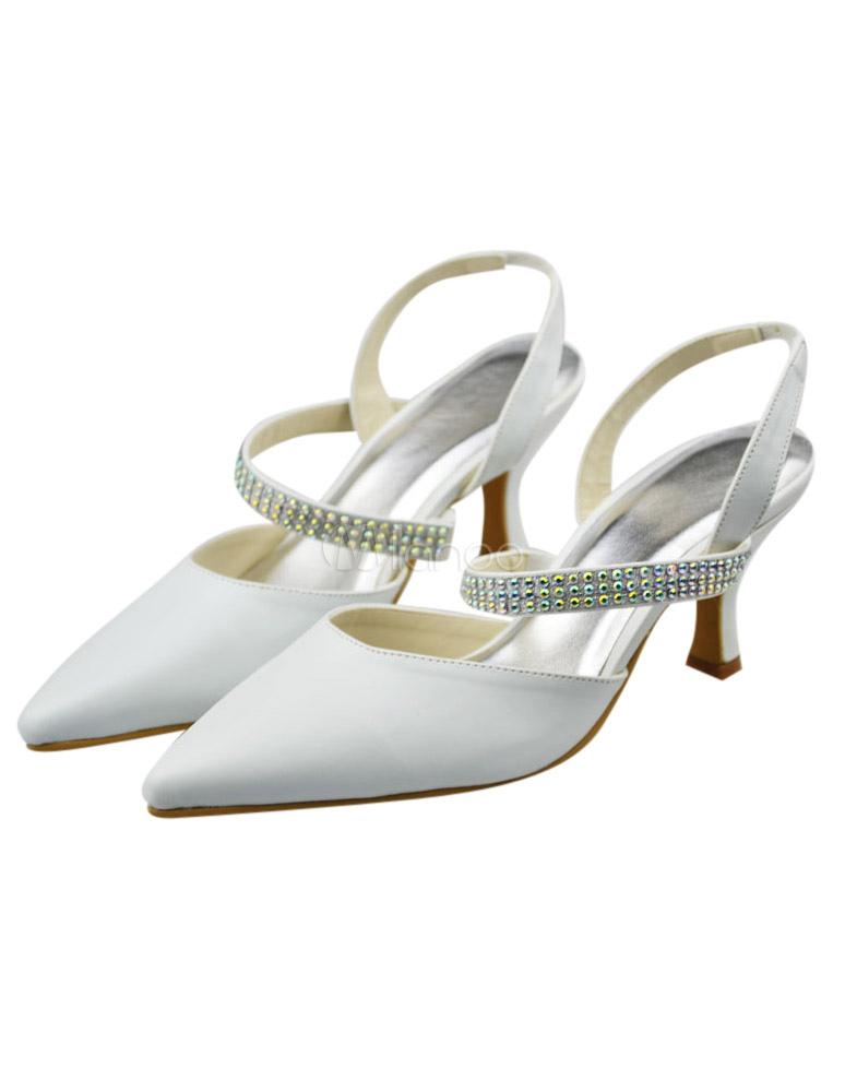 070bc33caf8ef Chaussure de mariée en PU blanc à petit talon et bout pointu avec strass