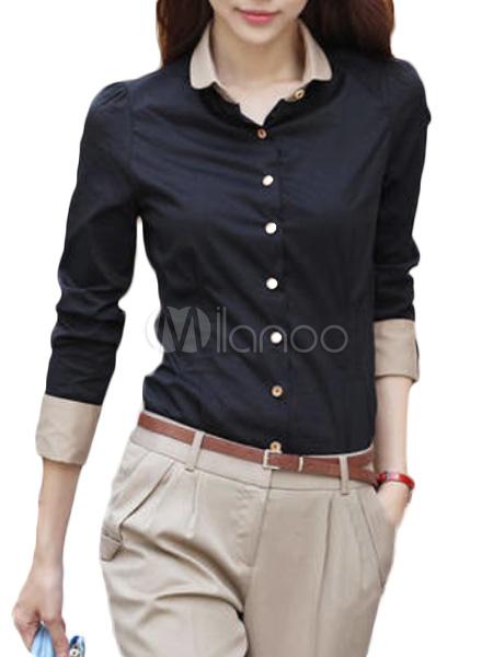 c96e5fa048 Blusa negra con manga larga para mujeres - Milanoo.com