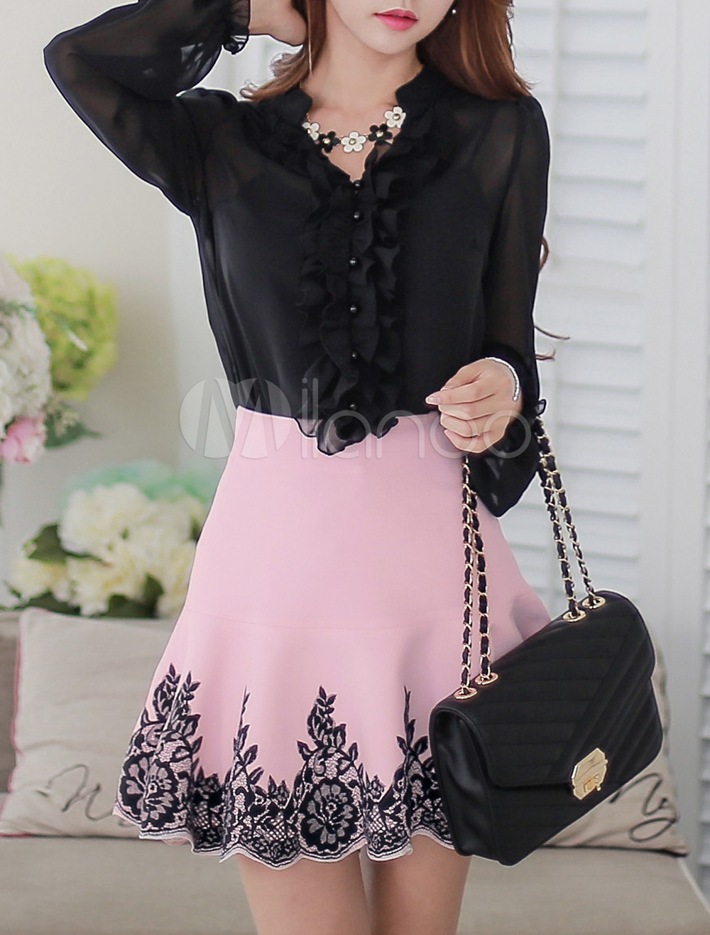 Buy Long Sleeves Semi-Sheer Chiffon Blouse For Women for $27.01 in Milanoo store