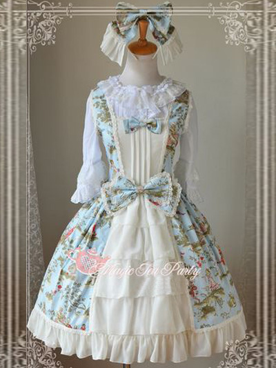 Bow Detailing Lolita Dress With Floral Print