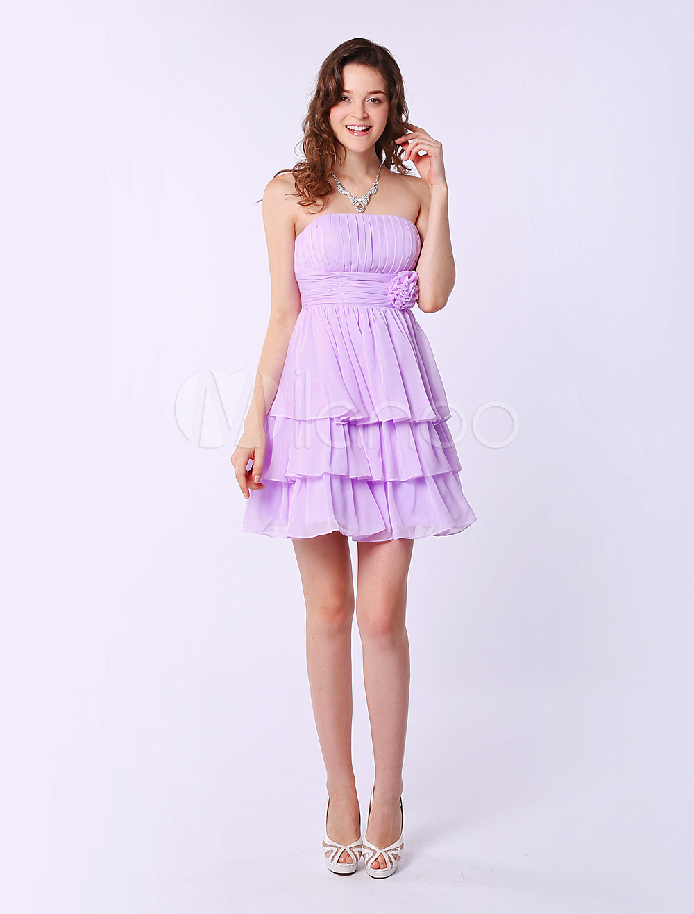 Buy Short Strapless Bridesmaid Dress With Tiered Chiffon for $84.53 in Milanoo store