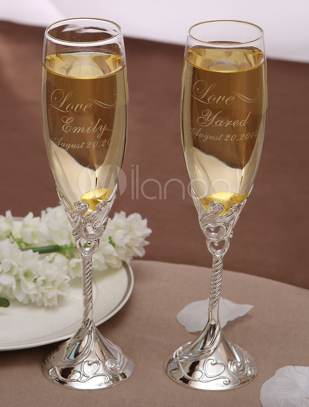 Personalized Sweetheart Toasting Flutes For Wedding