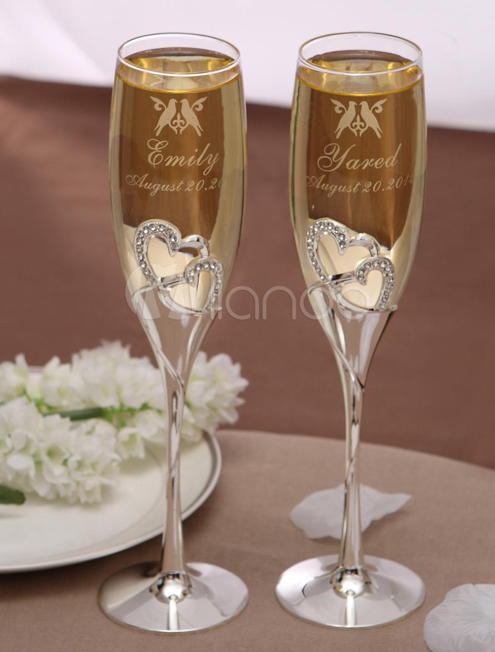 Toasting Flutes With Rhinestone For Wedding