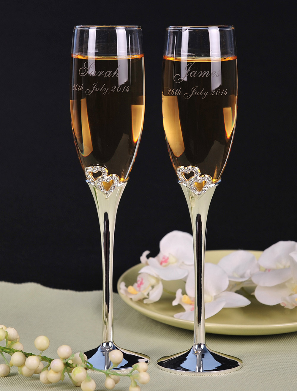 Personalized Wedding Toasting Flutes With Rhinestone ( A Pair )
