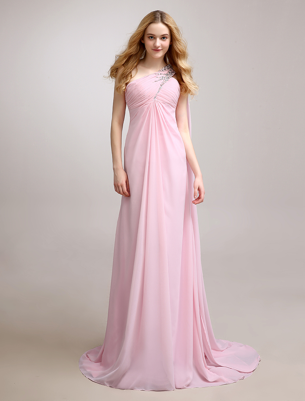 Beaded Chiffon Bridesmaid Dress With One-Shoulder