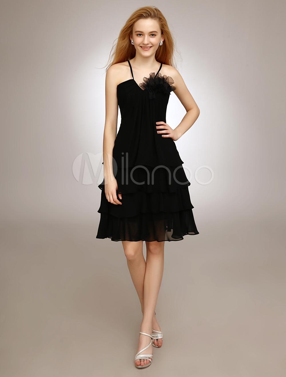 Black V-Neck Bridesmaid Dress With Tiered Chiffon
