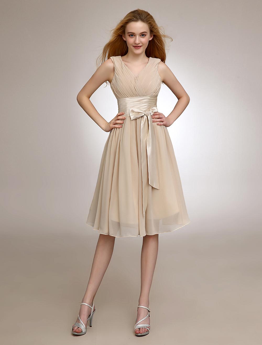 Gold Champagne V-Neck Chiffon Bridesmaid Dress With Sash