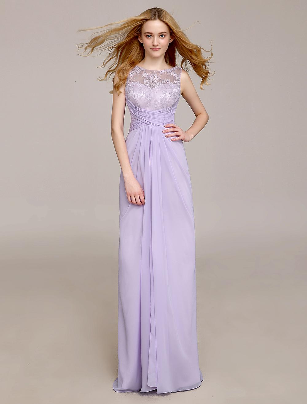 Jewel Neck Bridesmaid Dress With Draped Sheath Milanoo