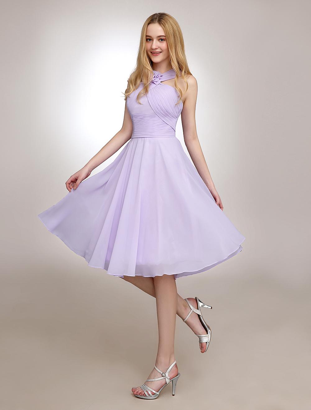 Short Bridesmaid Dress Lilac Halter Pleated Chiffon Wedding Party Dress