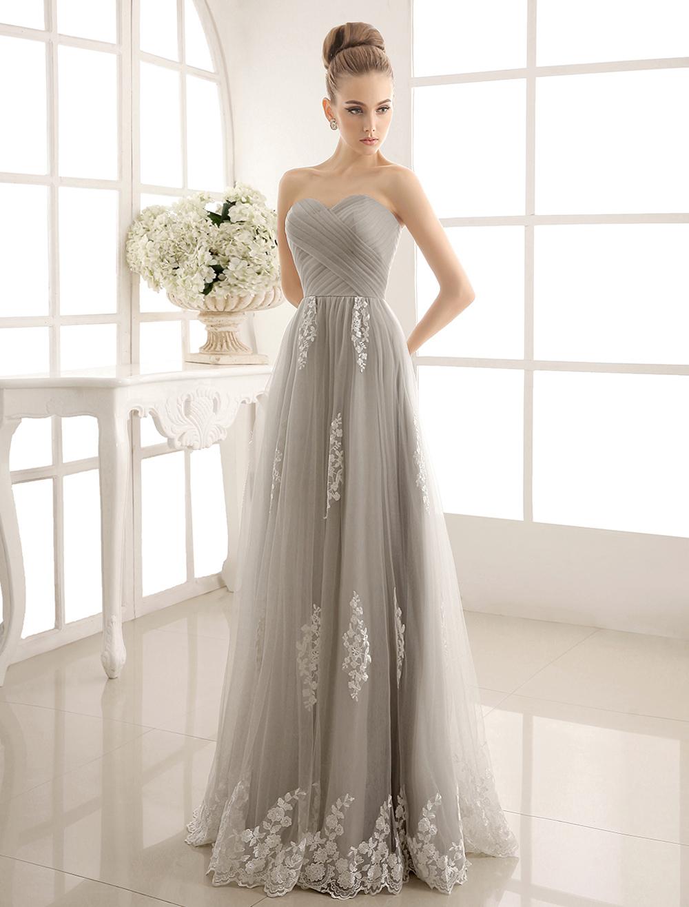 Gray Lace Ruffles Strapless Satin Tulle Wedding Dress