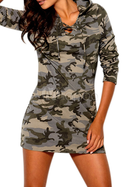 Camouflage Hooded Mini Dress