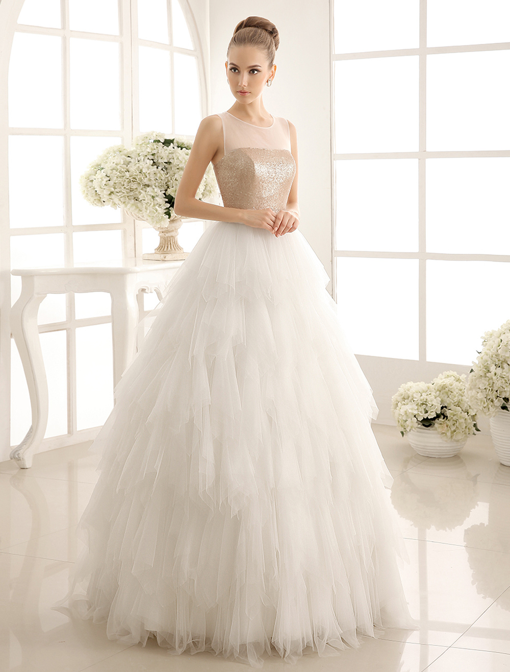 Buy Champagne Jewel Neck Wedding Dress With Sequins for $179.99 in Milanoo store