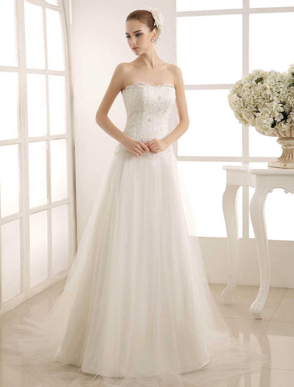 Beaded Strapless Wedding Gown With Court Train