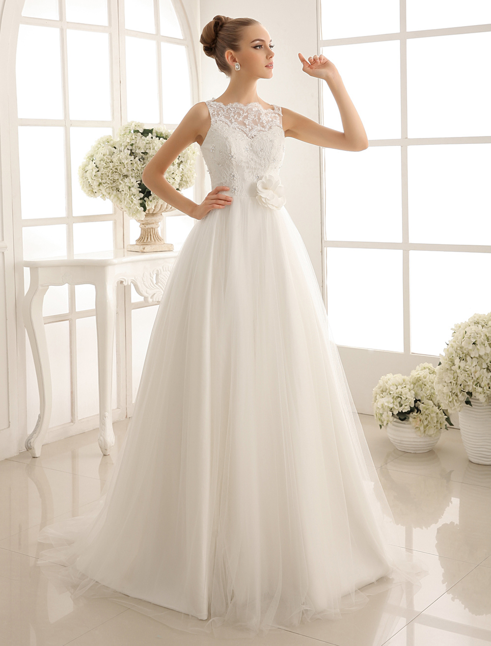 Bateau Neck Wedding Gown With Chapel Train